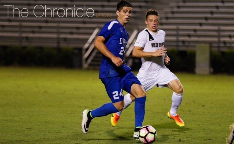 Brian White scored his team-high fourth goal of the season and also assisted on the Blue Devils' final goal Friday night.