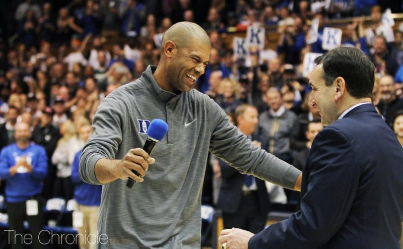 Shane Battier shared a 2001 national championship with Coach K—his 533rd victory with Duke and the third of Krzyzewski's five titles in Durham.