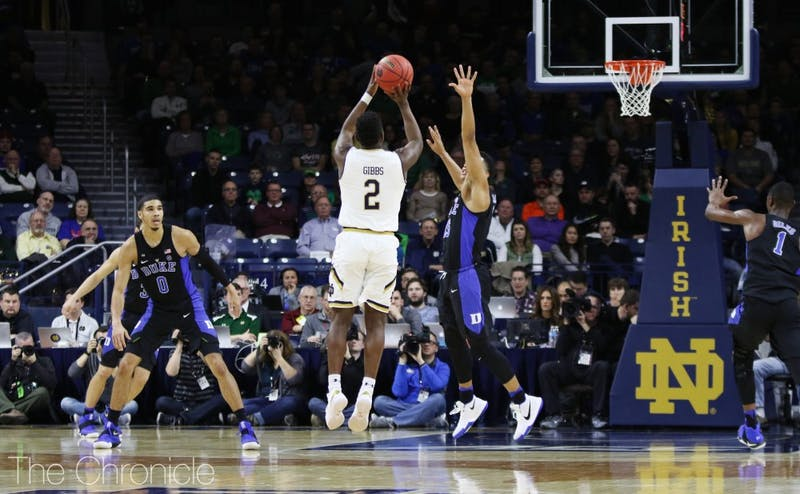 T.J. Gibbs has stepped up as Notre Dame's top threat with seniors Matt Farrell and Bonzie Colson both sidelined with injuries.
