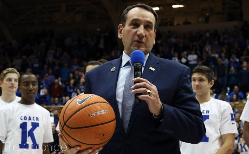 Mike Krzyzewski spoke to the crowd for a few minutes in an on-court ceremony after Saturday's win, his 1,000th at Duke.