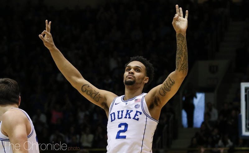 Although he nearly missed the game due to an illness, Gary Trent Jr. knocked down six 3-pointers to help spread the floor for Duke.