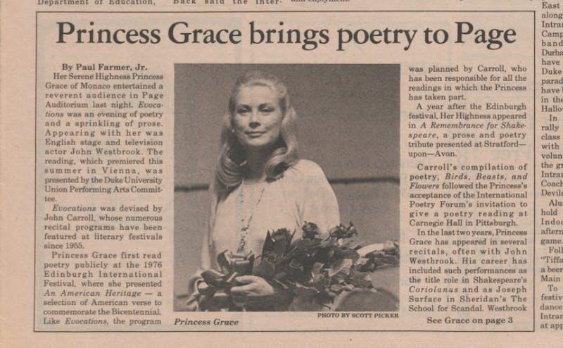 Princess Grace visits Duke