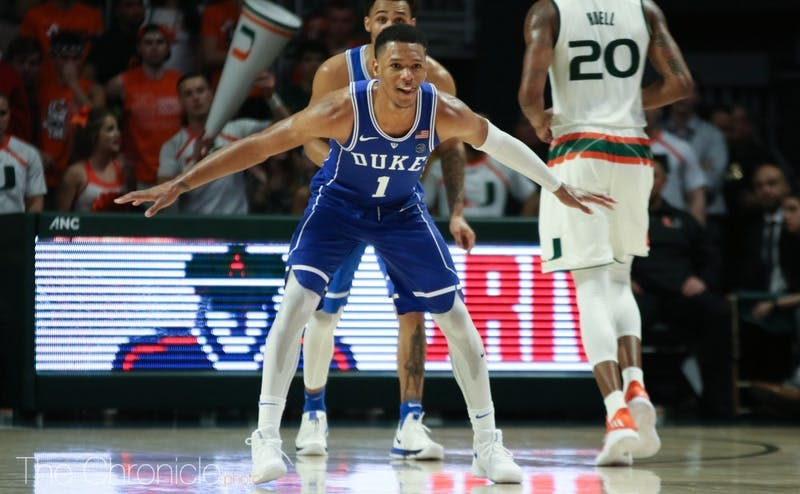 Duke made several gritty plays on defense down the stretch to keep the Hurricanes at bay.