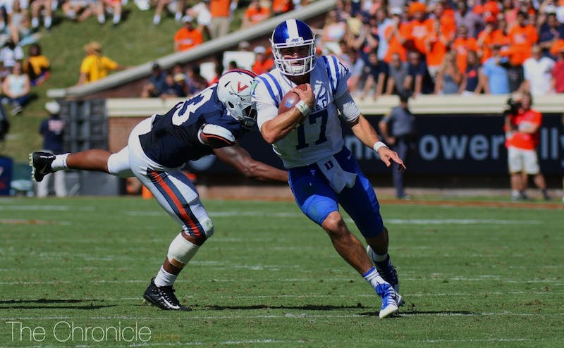 Daniel Jones finished with a career-low 82 passing yards against Virginia Tech and threw a first-quarter interception deep into double coverage.
