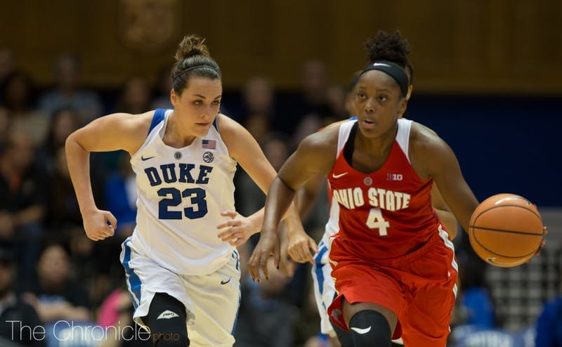 Rebecca Greenwell remains two 3-pointers away from breaking Duke's career record after she did not make a triple against South Carolina.