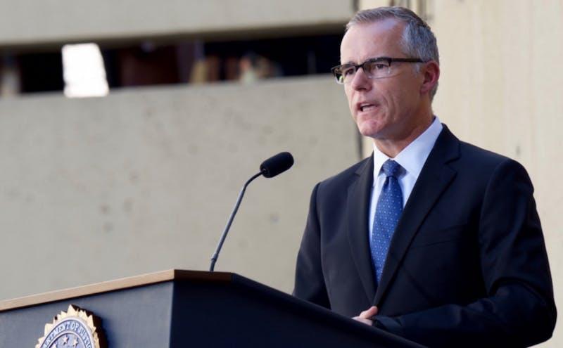 McCabe giving speech