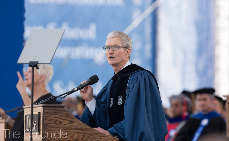 Tim Cook, Apple CEO, addresses the graduates at the 2018 Duke Commencement.
