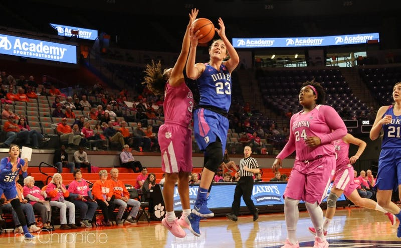 Rebecca Greenwell has grabbed at least eight rebounds in each of Duke's last six games.