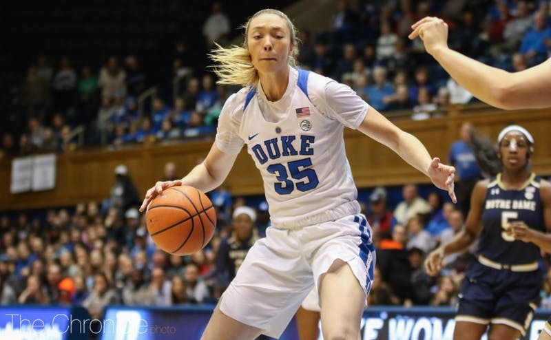 Erin Mathias only grabbed a mere three rebounds as one of Duke's starting centers.