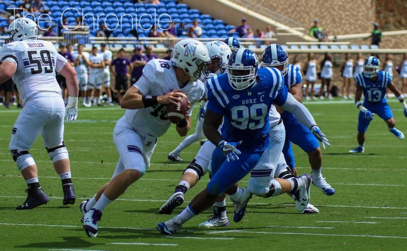 Redshirt senior Mike Ramsay and Duke's defensive line pressured Clayton Thorson relentlessly all afternoon.