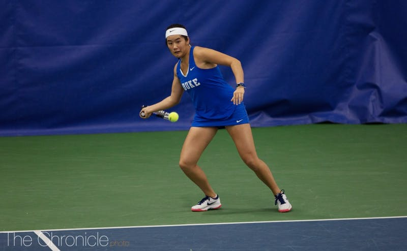 Kelly Chen eased past her Dartmouth opponent Sunday, losing only three games.