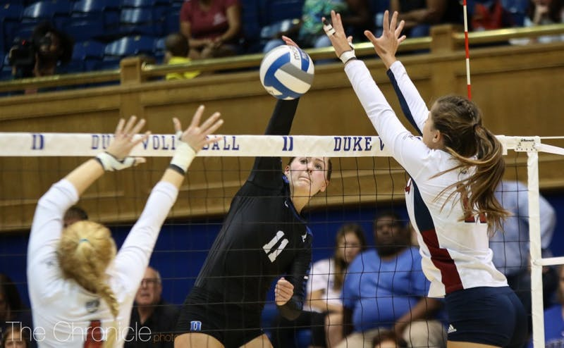 Payton Schwantz had 16 kills to lead the Blue Devils in Saturday's loss.