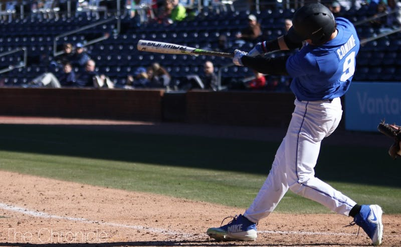 Griffin Conine launched his team-leading 12th home run in Sunday's defeat.