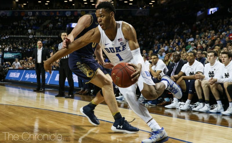 Trevon Duval started and dished out 11 assists in the Blue Devils' ACC tournament quarterfinal win against Notre Dame.