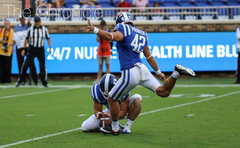 Austin Parker returns to the Blue Devils as the likely starter at both kicker and punter after being reinstated to the Duke program Wednesday.