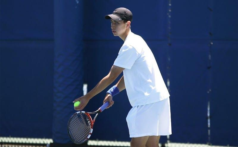 Nicolas Alvarez rallied for a three-set win in singles to lift Duke to victory.