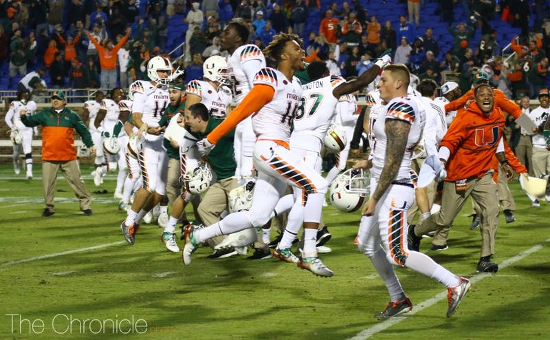 Miami beat Duke with eight laterals on a kick return for a touchdown as time expired in 2015 on a play with several missed calls by the officials.