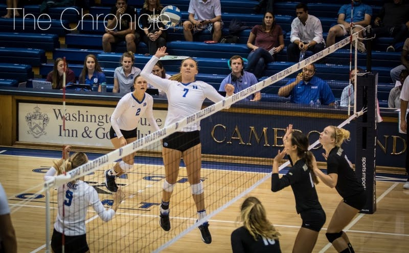 Junior middle blocker Leah Meyer will need to help Duke get back on track this weekend in Texas with the Blue Devils on a two-game losing streak.