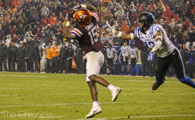 Sean Savoy's 26-yard catch put the Hokies up by two touchdowns with 15 seconds remaining.