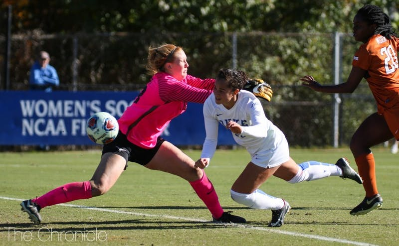 Junior Kayla McCoy's diving header off a long cross from Ella Stevens doubled Duke's lead in the 31st minute.