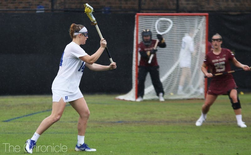 Olivia Jenner's three goals and two assists weren't enough for Duke to complete its comeback Sunday.