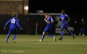 Max Moser put Duke on the board with a free kick from 30 yards out that curled into the left side of the net.