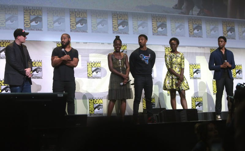 "The cast of ""Black Panther"" appears at the 2016 San Diego Comic-Con. The film had its wide release Friday."