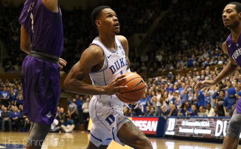 Freshman Trevon Duval scored a career-high 18 points on 9-of-12 shooting to lead Duke's backcourt.