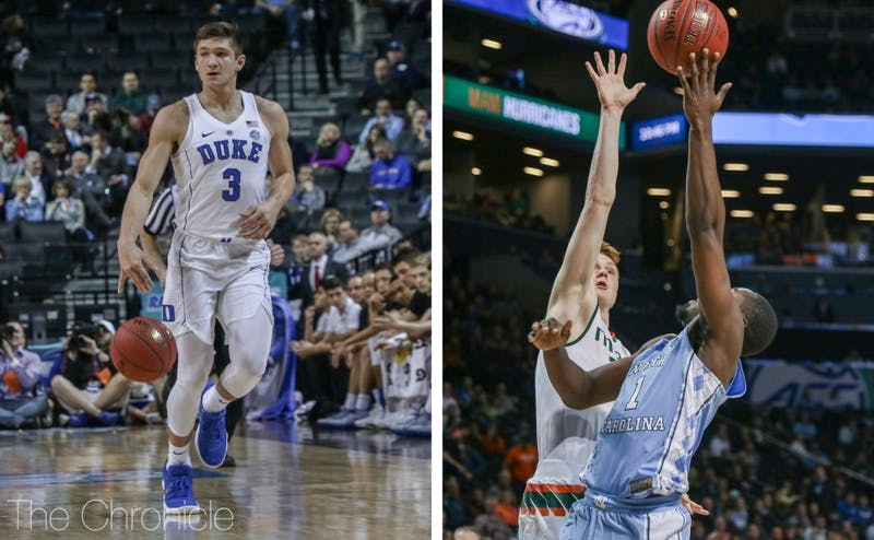 Grayson Allen and Theo Pinson both scored more than 20 points in ACC quarterfinal wins.