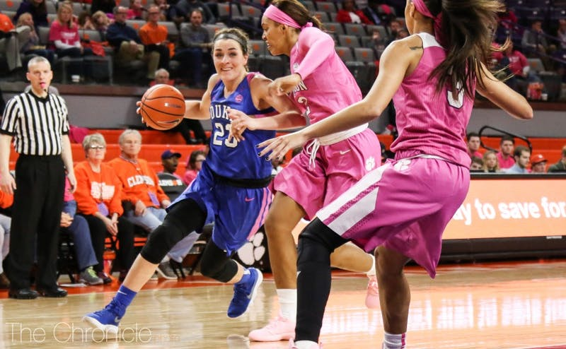 Despite struggling from long distance, graduate student Rebecca Greenwell led the Blue Devils offensively to make up for a off day from Lexie Brown.