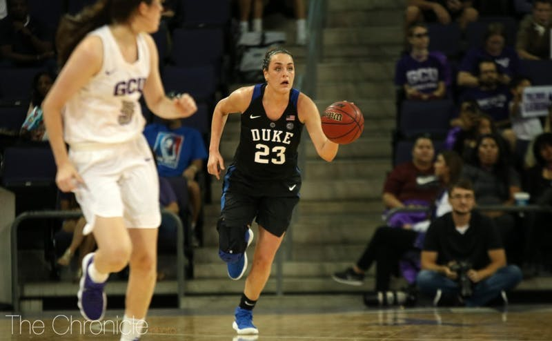 Rebecca Greenwell is on her way to becoming the first Blue Devil ever to score 1,500 points, grab 600 rebounds and make 200 3-pointers.
