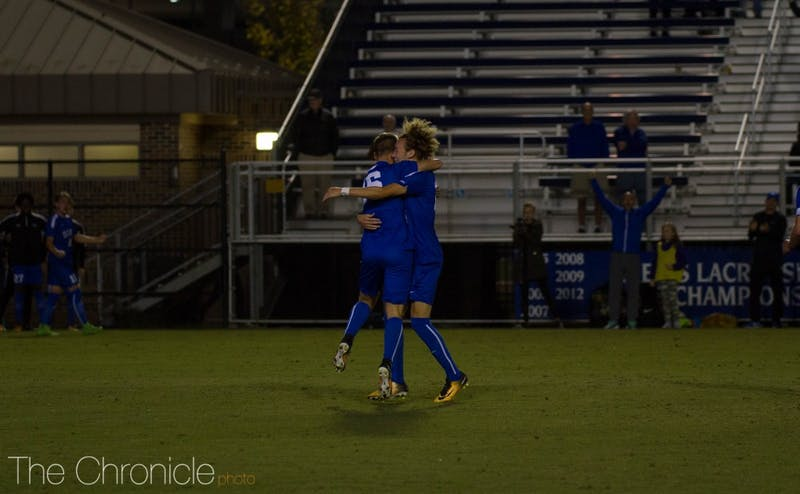 Daniel Wright scored the lone goal late in Duke's Senior Night game to clinch a first-round bye in the ACC tournament.