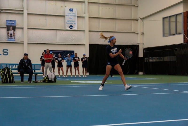 Marika Akkerman celebrates a point against Georgia Tech during a doubles game on Saturday.