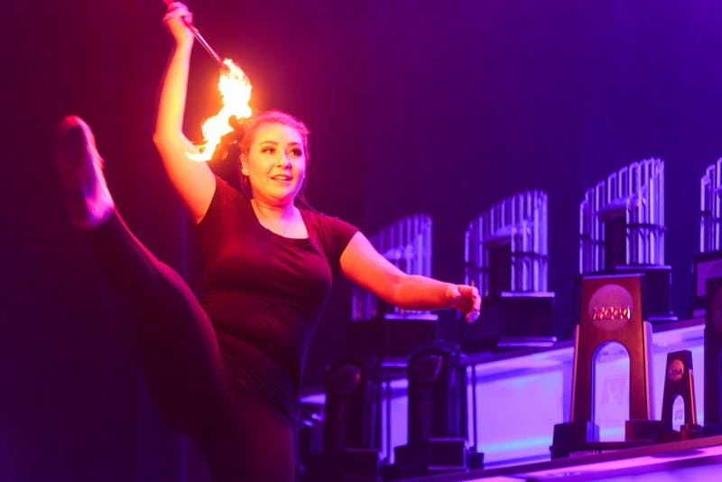 Fire-spinning dancers performed the opening act at the Rammys on April 23 in Memorial Hall.