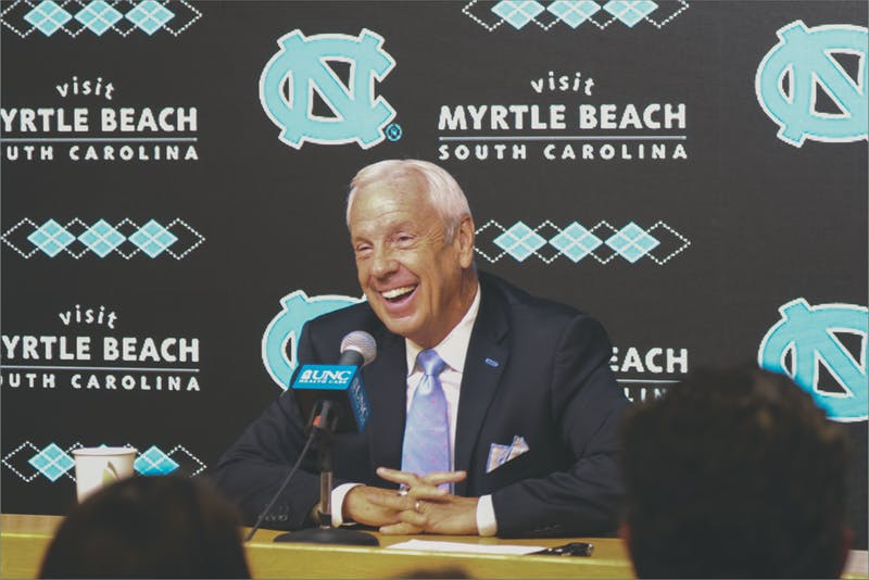 UNC men's basketball coach Roy Williams answers questions during press conference at Dean Smith Center on Oct. 17.