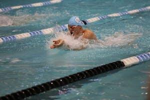 UNC's Valdas Abilksta swims in his race against Texas on Saturday afternoon in Koury Natatorium.