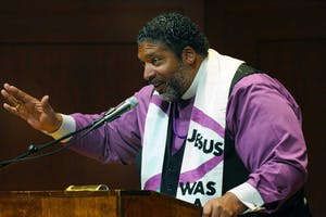 Rev. William Barber speaks at UNC Institute for the Arts and Humanities' Weil Lecture Wednesday night. Barber spoke about what he thinks it means to be an American citizen. Photo courtesy of Donn Young of the UNC College of Arts and Sciences.