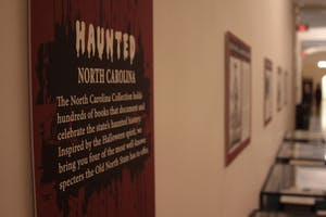 The Wilson Library displayed spooky stories for Halloween.