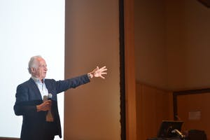 Dr. Mario Capecchi, a 2007 Nobel prize winner in Physiology/Medicine, speaks about his research at the 7th Annual Oliver Smithies Nobel Symposium on Tuesday afternoon.