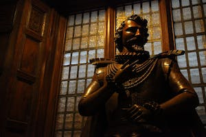 A wooden statue of Sir Walter Raleigh donated to the University in 1931 by Colonel Owen Kenan of Wilmington, N.C.