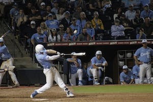 UNC's Kyle Datres (3) hits a home run during Saturday's game against East Carolina University.