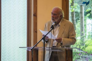 Essayist Hal Crowther spoke to the Orange & Durham Chapter of Americans United for Separation of Church and State at the Unitarian Universalist Congregation of Hillsborough on June 5.