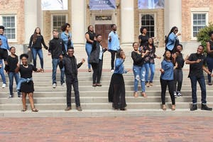 """The UNC Gospel Choir is performing at the Stone Center's Martin Luther King, Jr. commemoration, """"He was a Poem, He was a Song."""" Photo courtesy of Lael Clark."""