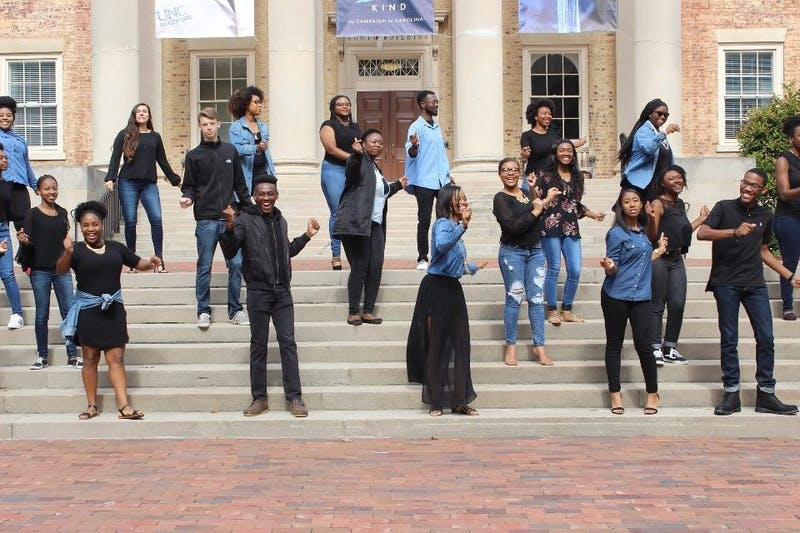 "The UNC Gospel Choir is performing at the Stone Center's Martin Luther King, Jr. commemoration, ""He was a Poem, He was a Song."" Photo courtesy of Lael Clark."