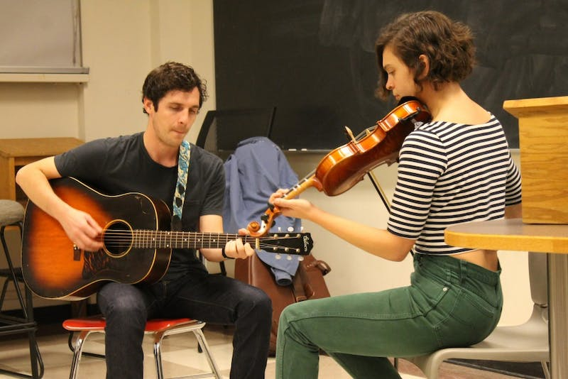 Joseph Terrell and Libby Rodenbough of Mipso play a short set during a Q&A hosted by Carolina Creates Music in Bingham Hall on Tuesday evening.