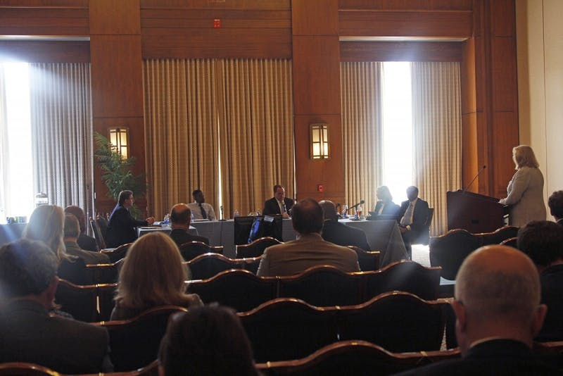 The Board of Trustees met in the George Watts Hill Alumni Center in March 2017.
