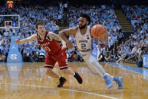 Guard Joel Berry II (2) drives baseline against N.C. State on Jan. 27 in the Smith Center.