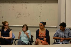 Tanya Amert (Left to right), Diane Pozefsky, Sydney Mantell and Armando Jimenez speak at a panel on diversity in Computer Science on Wednesday hosted by The Computer Science department.