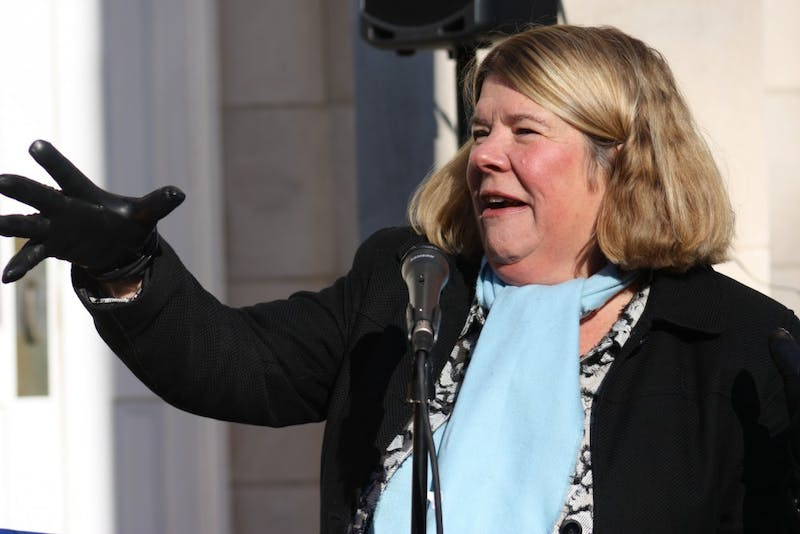 Chapel Hill Mayor Pam Hemminger speaks during the Chapel Hill-Carrboro NAACP MLK Day Rally and March at the Peace and Justice Plaza on Monday.