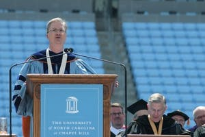 Holden Thorp spoke at his last graduation as chancellor May 12, 2013 in Kenan Stadium.